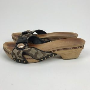 Coach Womens Slides Wood with Brown Khaki Q566 6.5